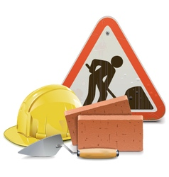 Construction Concept with Bricks and Trowel vector image