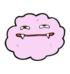 Comic cartoon pink fluffy vampire cloud vector
