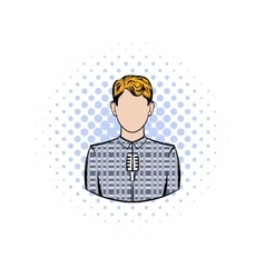 Man with microphone comics icon vector
