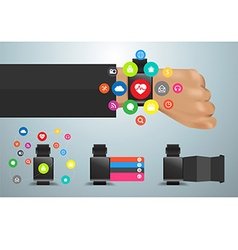 Smartwatch social media networks user interface vector