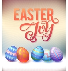 Realistic eggs on pastel background easter vector
