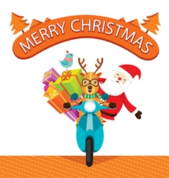Reindeer riding motorcycle with santa claus vector