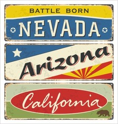Tin sign collection with usa state vector