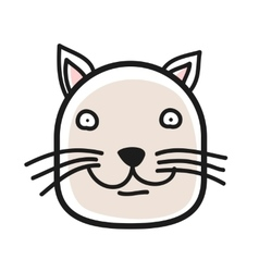 Cartoon animal head icon cat face avatar for vector