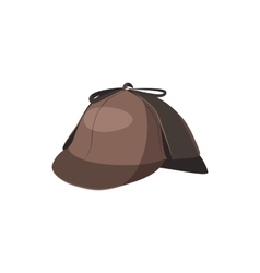 Detective Sherlock Holmes hat icon cartoon style vector image