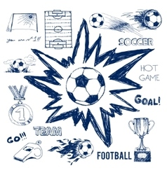Sketch of football elements vector