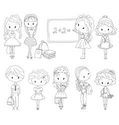 Adult coloring book pupil school children vector