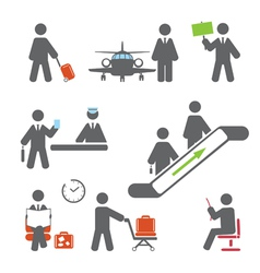 Air terminal icons vector image vector image