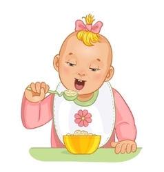 Baby girl with spoon and plate vector image vector image