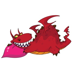 Big dragon with heart vector