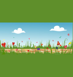 Cobbled path through blooming flower field vector