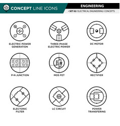 Concept line icons set 02 engineering vector
