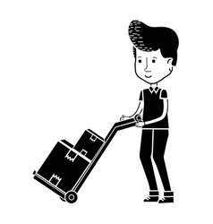 Contour delivery man with packages in transport vector