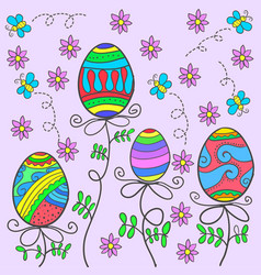 Doodle of easter egg on pink background vector