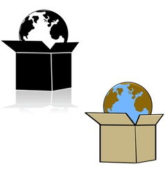 Earth in a box vector image vector image
