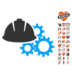 Engineering helmet and gears icon with valentine vector