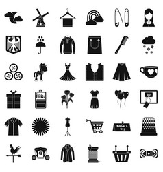 Fashion dress icons set simple style vector
