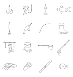 Fishing icon set outline style vector