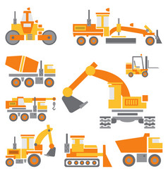 Flat color icon construction machinery set vector