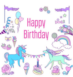 happy birthday card with unicorn cake ballons vector image vector image
