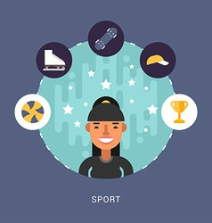 in Flat Design Style Sport Icons and Sportsman vector image vector image