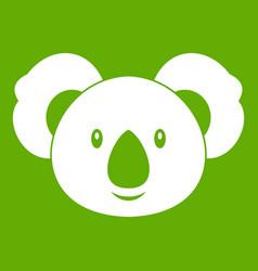 koala icon green vector image