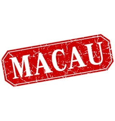 Macau red square grunge retro style sign vector