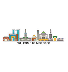 morocco outline skyline moroccan flat thin line vector image vector image