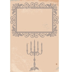 old texture with frame and candlestick vector image vector image
