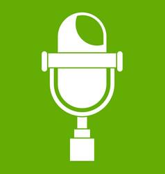 retro microphone icon green vector image