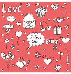 Romantic set in cartoon style vector image vector image