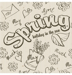 Seamless texture - the spring of doodles vector