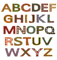 set of letters tartan vector image vector image