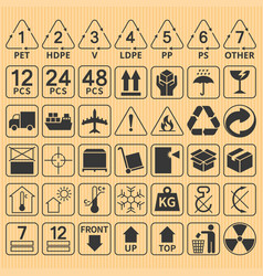 set of packaging symbol collection vector image