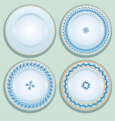 set of white porcelain plate with blue ornament vector image