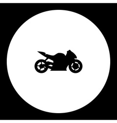 Sport fast motorbike simple isolated black icon vector
