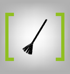 Sweeping broom sign black scribble icon vector