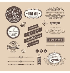 Valentines day Elements labels and frames vector image
