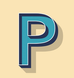Letter p retro text style fonts concept vector