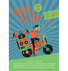 Summer festival music poster template with dj and vector