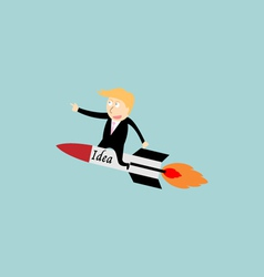 Businessman rocket idea vector