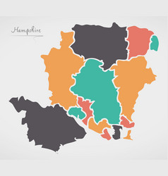 Hampshire england map with states and modern vector