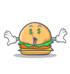 Money eye burger character fast food vector