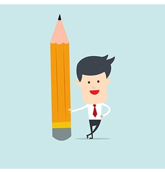 Business man hold pencil vector image