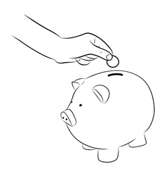 Hand putting coins into saving piggy bank vector