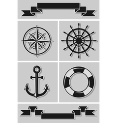 Set of nautical icons and ribbons flat design vector