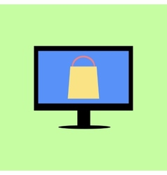Flat style computer with shopping bag vector