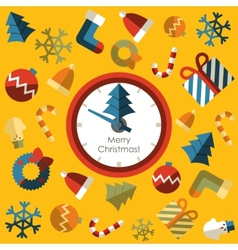 Clock Merry christmas with background icon vector image
