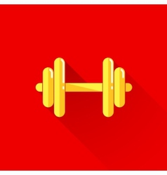 Vintage of a dumbbell in flat style with long vector