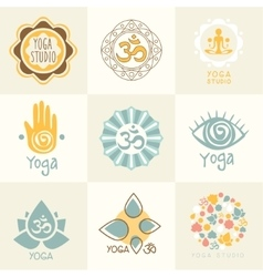 Set of yoga and meditation symbols vector